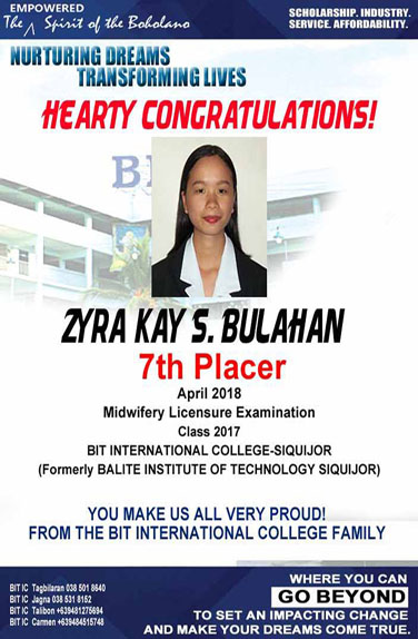 7th Placer April 2018 Midwifery Licensure Examination