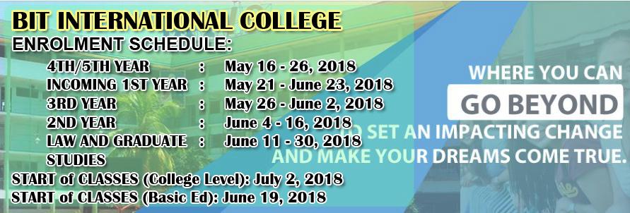 BIT International College Enrolment Schedule